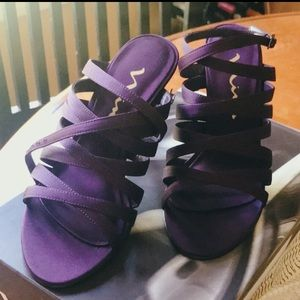 nina randy purple cross heels